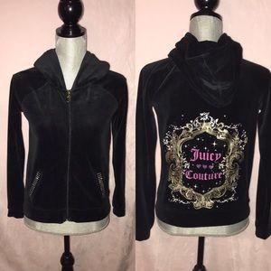 NWOT! Black Velour Juicy Couture Bling Jacket XS